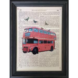 アートフレーム Marion McConaghie Butterfly London Bus/絵画 壁掛け 壁飾り インテリア 油絵 花 アートパネル ポスター 絵 額入り リビング 玄関|ayuwara