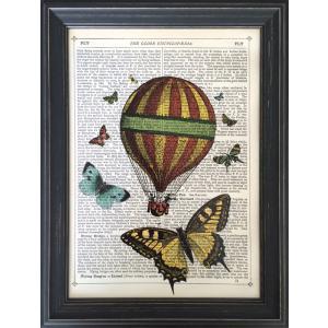 アートフレーム Marion McConaghie Butterflies & Balloon/絵画 壁掛け 壁飾り インテリア 油絵 花 アートパネル ポスター 絵 額入り リビング 玄関|ayuwara