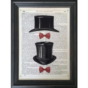 アートフレーム Marion McConaghie Top Hat & Bow Ties/絵画 壁掛け 壁飾り インテリア 油絵 花 アートパネル ポスター 絵 額入り リビング 玄関|ayuwara