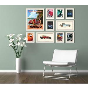 絵画 インテリア アートフレーム 10枚セット クラシックカー/絵画 壁掛け 壁飾り インテリア 油絵 花 アートパネル ポスター 絵 額入り リビング 玄関|ayuwara