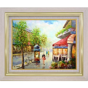 手描き油絵 C.COX パリの風景 F6 画家本人手描き 絵画 額入り 絵画 絵