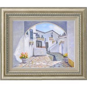 手描き油絵 奥田 ひとみ 石畳の街並み F6 画家本人手描き 絵画 額入り 絵画 絵