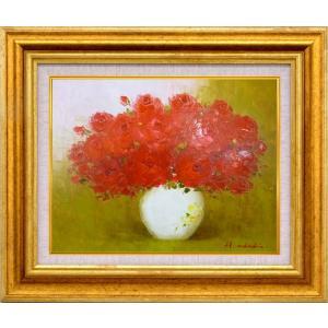手描き油絵 足立 弘樹 赤いバラ F6 画家本人手描き 絵画 額入り 絵画 絵