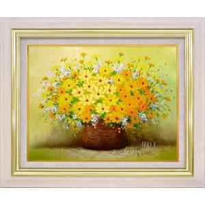手描き油絵 木村 咲 黄色い小花 F6 画家本人手描き 絵画 額入り 絵画 絵 ayuwara