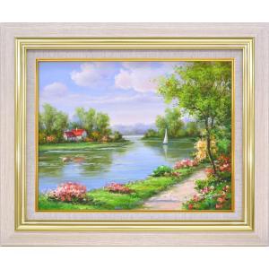 手描き油絵 モリンガ 花畑に彩られて1 F6 画家本人手描き 絵画 額入り 絵画 絵