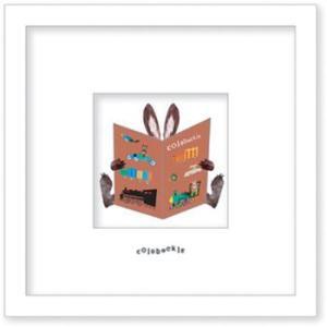 アートフレーム/ゆうパケット Colobockle コロボックル 本とウサギ(車)|ayuwara