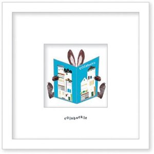 アートフレーム/ゆうパケット Colobockle コロボックル 本とウサギ(家)|ayuwara