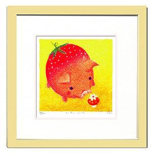 絵画 壁飾り/Ryo いちごぶた/絵画 壁掛け 壁飾り インテリア 油絵 花 アートパネル ポスター 絵 額入り リビング 玄関|ayuwara
