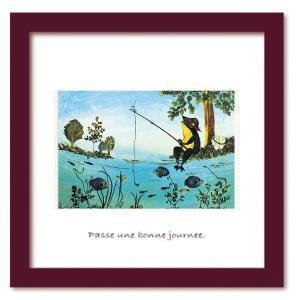 アートフレーム ゆうパケット Atelier Flower Horizon Fishing frog 絵画 壁掛け 壁飾り インテリア 油絵 花 アートパネル ポスター 絵 額入り リビング 玄関