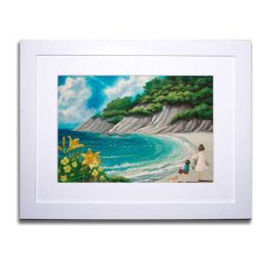 絵画/浜辺/絵画 壁掛け 壁飾り インテリア 油絵 花 アートパネル ポスター 絵 額入り リビング 玄関|ayuwara