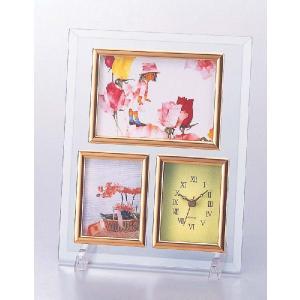 フォトフレーム/いわさきちひろクリスタル時計付フォトフレーム/壁掛け 立てかけ 記念 写真 飾り 出産祝い 結婚祝い 写真立て ayuwara