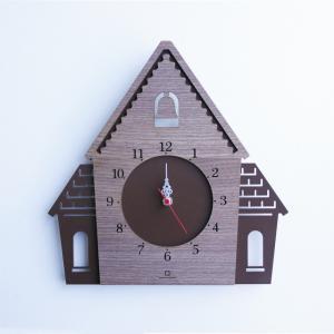 時計 DOUWA house W CLOCK ブラウン ヤマト工芸 yamatojapan/ウォールクロック インテリア 壁掛け ギフト プレゼント 新築祝い おしゃれ アート ayuwara
