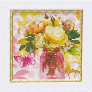 絵画/ゆうパケット ミニゲル アートフレーム アート アトリエ アライアンス「ピンク メイソンジャー ブーケ」|ayuwara