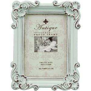 フォトフレーム/アンティークスタイル フォトフレーム スクエア・サービス (アンティークグリーン)/壁掛け 立てかけ 記念 写真 飾り 出産祝い 結婚祝い 写真立て ayuwara