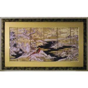 日本画/和風フレーム 赤い鳥と山水/絵画 壁掛け 壁飾り インテリア 油絵 花 アートパネル ポスター 絵 額入り リビング 玄関 ayuwara