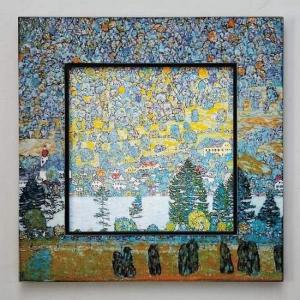 ビッグアート 名画ハイグロスシリーズ クリムト 「マウンテンスロープ」/絵画 壁掛け 壁飾り インテリア 油絵 花 アートパネル ポスター 額入り リビング 玄関|ayuwara
