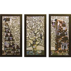絵画/グスタフ クリムト ラルベロ デラ ヴィータ (3枚セット)/絵画 壁掛け 壁飾り インテリア 油絵 花 アートパネル ポスター 絵 額入り リビング 玄関|ayuwara