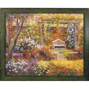 絵画/ロンゴ パティオ ガーデン2/絵画 壁掛け 壁飾り インテリア 油絵 花 アートパネル ポスター 絵 額入り リビング 玄関|ayuwara