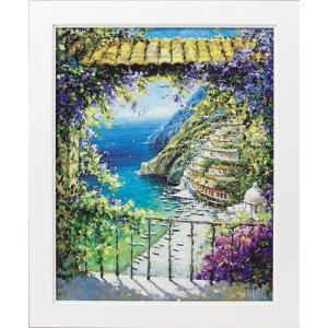 絵画/マルコ マヴロヴィッチ 八月のポジターノ/絵画 壁掛け 壁飾り インテリア 油絵 花 アートパネル ポスター 絵 額入り リビング 玄関|ayuwara