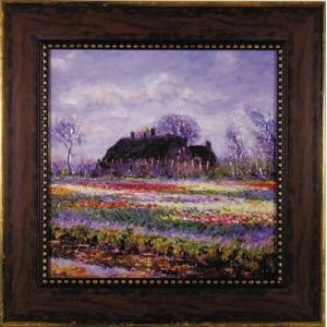 絵画/モネ「チューリップ畑」/絵画 壁掛け 壁飾り インテリア 油絵 花 アートパネル ポスター 絵 額入り リビング 玄関|ayuwara