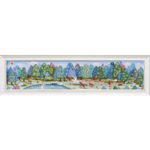 絵画/なかの まりの とある森の奥から/絵画 壁掛け 壁飾り インテリア 油絵 花 アートパネル ポスター 絵 額入り リビング 玄関|ayuwara
