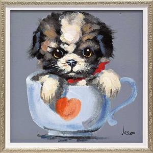 絵画 油絵 オイル ペイント アート「ティーカップ ドッグ1(Sサイズ)」/絵画 壁掛け 壁飾り インテリア|ayuwara