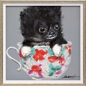 絵画 油絵 オイル ペイント アート「ティーカップ ドッグ2(Sサイズ)」/絵画 壁掛け 壁飾り インテリア|ayuwara