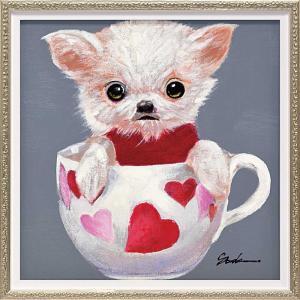 絵画 油絵 オイル ペイント アート「ティーカップ ドッグ4(Sサイズ)」/絵画 壁掛け 壁飾り インテリア|ayuwara