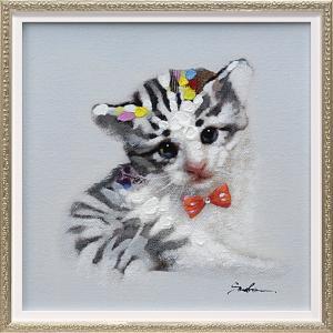 手描き油絵 オイル ペイント アート「キャット イン ゼブラ(Sサイズ)」/絵画 壁掛け 壁飾り インテリア|ayuwara