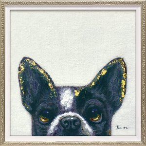 【絵画 油絵】オイル ペイント アート「ピーパ ドッグ2(Sサイズ)」|ayuwara