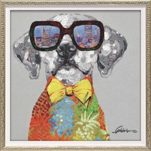 絵画 オイル ペイント アート「ビュー シティ ドッグ(Sサイズ)」 インテリア 犬 壁掛け 額入り 油絵 ポスター アートパネル リビング 玄関 プレゼント モダン ayuwara