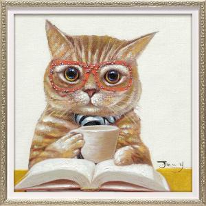 絵画 オイル ペイント アート「カフェ キャット(Sサイズ)」 インテリア 猫 壁掛け 額入り 油絵 ポスター アートパネル リビング 玄関 プレゼント モダン|ayuwara