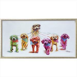 油絵 オイル ペイント アート ドッグ マーチ(Mサイズ)/絵画 壁掛け 壁飾り インテリア 油絵 花 アートパネル ポスター 絵 額入り リビング 玄関|ayuwara