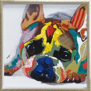 手描き油絵/オイル ペイント アート「カラフル ブルドッグ(Mサイズ)」/絵画 壁掛け 壁飾り インテリア 油絵 花 アートパネル ポスター 額入り リビング 玄関|ayuwara