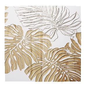 ウッド スカルプチャー アート モンステラA/ホワイト/絵画 壁掛け 壁飾り インテリア 油絵 花 アートパネル ポスター 絵 額入り リビング 玄関|ayuwara