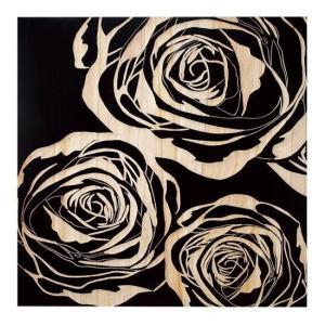 ウッド スカルプチャー アート フルローゼズ/ブラック/絵画 壁掛け 壁飾り インテリア 油絵 花 アートパネル ポスター 絵 額入り リビング 玄関|ayuwara