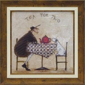 絵画/サム トフト 2人でお茶/絵画 壁掛け 壁飾り インテリア 油絵 花 アートパネル ポスター 絵 額入り リビング 玄関 ayuwara