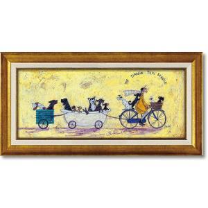 絵画 サム トフト「いぬタクシー」 インテリア 壁掛け 絵 飾る 風景 額入り おしゃれ リビング ...