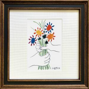 名画アートフレーム ゆうパケット ピカソ 花束/絵画 壁掛け 壁飾り インテリア 油絵 花 アートパネル ポスター 絵|ayuwara