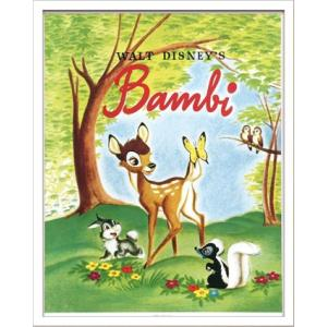 Disneyポスター/ビンテージ ディズニー シリーズ Bambi 1 バンビ/絵画 壁掛け 壁飾り インテリア 油絵 花 アートパネル ポスター 絵 額入り リビング 玄関|ayuwara