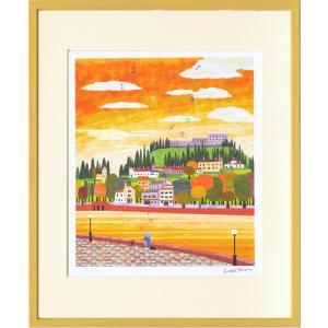 絵画 壁掛け/運河と丘の町(はりたつお)/絵画 壁掛け 壁飾り インテリア 油絵 花 アートパネル ポスター 絵 額入り リビング 玄関|ayuwara
