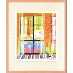 版画/はりたつお 窓/絵画 壁掛け 壁飾り インテリア 油絵 花 アートパネル ポスター 絵 額入り リビング 玄関|ayuwara