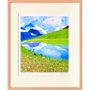 絵画 壁掛け はりたつお スイスアルプスのユングフラウとアレッチII/絵画 壁掛け 壁飾り インテリア 油絵 花 アートパネル ポスター 絵 額入り リビング 玄関|ayuwara