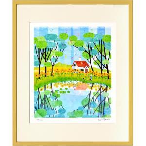 絵画 壁掛け はりたつお ひまわり2/絵画 壁掛け 壁飾り インテリア 油絵 花 アートパネル ポスター 絵 額入り リビング 玄関|ayuwara