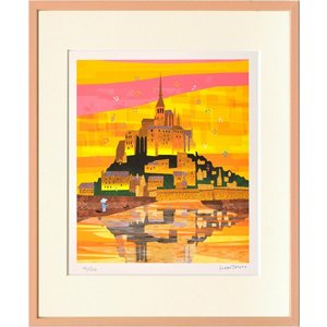 絵画 壁掛け はりたつお モンサンミシェル2/絵画 壁掛け 壁飾り インテリア 油絵 花 アートパネル ポスター 絵 額入り リビング 玄関|ayuwara