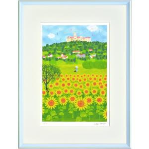 絵画 壁掛け はりたつお バンオンハルマの丘/絵画 壁掛け 壁飾り インテリア 油絵 花 アートパネル ポスター 絵 額入り リビング 玄関 ayuwara