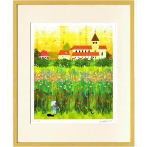 絵画 はりたつお ライヒュナウの花畑/インテリア 壁掛け 額入り 油絵 ポスター アート おしゃれ|ayuwara