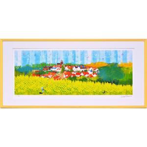 絵画 はりたつお ラプンツェルの塔と菜の花畑(L)/インテリア 壁掛け 額入り 油絵 ポスター アート おしゃれ|ayuwara