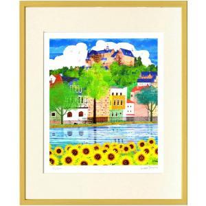 絵画 はりたつお 夏のマールブルクとひまわり/絵画 壁掛け 壁飾り インテリア 油絵 花 アートパネル ポスター 絵|ayuwara