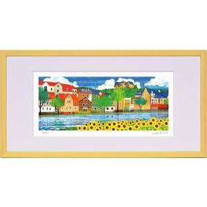 絵画 はりたつお 夏のマールブルクとひまわり S/絵画 壁掛け 壁飾り インテリア 油絵 花 アートパネル ポスター 絵|ayuwara